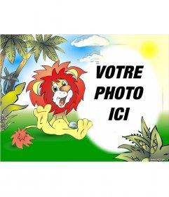 Cadre photo tirée lion souriant dans la jungle