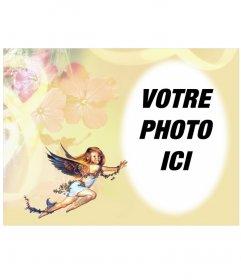 Cadre photo: petit ange dans un cadre photo arrondi