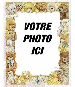 Cadre photo avec des photos de bébés ours autour de votre image