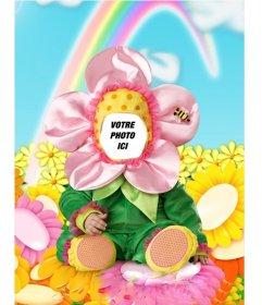Photomontage de mettre votre visage dans un costume avec bébé costume de fleur dune fleur pour les enfants avec un arc en ciel, que vous pouvez facilement modifier toute photo et vous voir avec le costume virtuel drôle. Essayez avec la photo de votre enfant et définit le visage dans le costum et partager avec vos amis cet effet gratuit