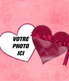 Effet en ligne dune photo à lintérieur dun coeur comme si elle était une boîte avec un fond rose