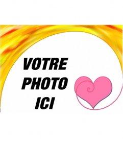 Cadre photo avec un coeur. Félicite la Saint-Valentin avec un montage photo en ligne gratuit, vous pouvez enregistrer ou envoyer un courriel