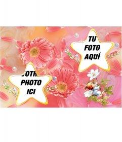 Cadre pour deux photos avec des fleurs en forme détoile et de couleurs pastel