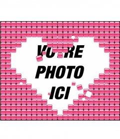 """Mettez votre photo à l""""intérieur d""""un coeur composé de plusieurs blocs de rose"""