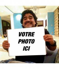 Photomontage avec Maradona saisissant votre photo avec votre photo et texte