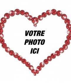 Cadre photo en ligne dun diamant en forme de coeur et brillantes