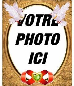 Cadre photo avec des colombes de vol