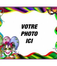 Carnaval cadre photo pour personnaliser en ligne