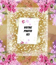 Cadre avec beaucoup de fleurs pour décorer vos photos en ligne
