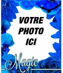 Cadre photo faite de fleurs bleues comme les orchidées et les roses pour mettre votre photo arrière-plan