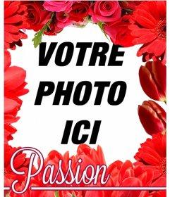 Cadre photo faite de fleurs rouges, comme les tulipes et les roses pour mettre votre photo sur fond