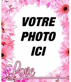 Cadre photo de fleurs roses tels que fleurs de cerisier pour mettre votre photo de fond