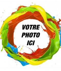 Cadre dun cercle de couleurs de peinture où vous pouvez ajouter votre photo