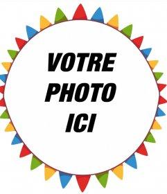 Cadre photo coloré gratuit pour votre photo avec fanions du parti de leffet photo pour décorer vos images avec un cadre circulaire de drapeaux colorés avec un style de cirque. Un effet parfait pour appeler lattention avec vos photos et gratuitement