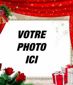 Cadre en ligne avec un rideau rouge et décorations de Noël