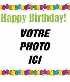 Carte postale de joyeux anniversaire avec de nombreux ballons colorés pour télécharger votre photo