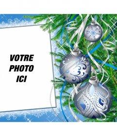 Cadre photo personnalisé en ligne décorée avec un arbre de Noël