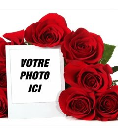 Cadre photo en ligne entourée dun bouquet de roses
