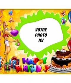 Enfant cadre photo à Photomontage de joyeux anniversaire pour féliciter lanniversaire dun enfant