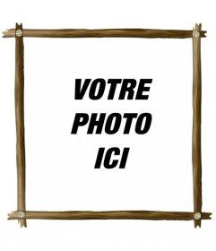 Cadre photo numérique dessiné avec quatre billes de bois fines et boulons pour décorer vos photos numériques en ligne