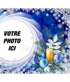 Carte de Noël avec des flocons de neige pour mettre votre photo dans un cercle
