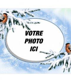 Cadre photo Snowy pour personnaliser avec deux birdies