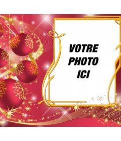 Cadre rouge pour mettre votre image avec des boules de Noël