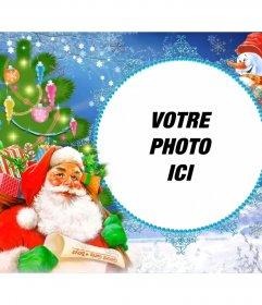 Cadres photo avec le Père Noël chargé de cadeaux