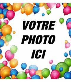 Cadre pour entourer vos photos avec de nombreux ballons colorés et décorer