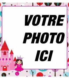 Cadre photo numérique avec une princesse et un château