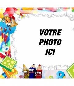 Les enfants de cadre modifiable avec des dessins mignons pour ajouter un effet photo photo