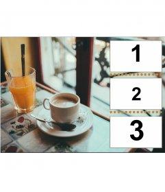 Collage de bon matin avec café et petit-déjeuner de jus
