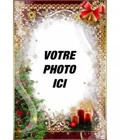 Arbre de Noël, bougies, buirnaldas et cloches pour personnaliser votre photo en ligne