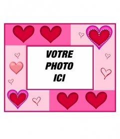 """Cœur de cadre photo de différentes tailles et fond rose. Parfait pour mettre l""""image de fond d""""une jeune mariée et le marié"""