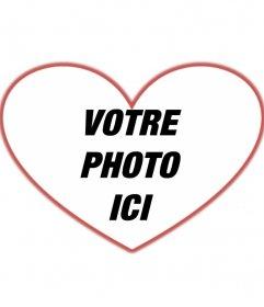 Masque des photos en forme de coeur et bordure rouge que vous pouvez ajouter une image de fond