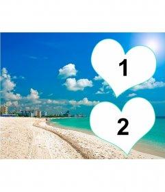 Carte postale pour deux photos avec un arrière-plan dune plage de Floride