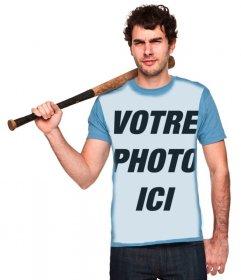 Mettez votre image en chemise bleue de ce garçon