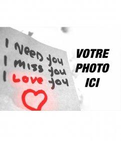 Amour effet photo avec le texte et un cœur