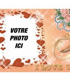 Montage photo pour les amateurs avec des coeurs et texte que I LOVE YOU