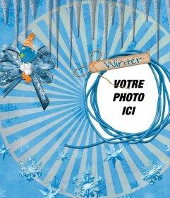 Photo Winter cadre pour mettre votre photo à côté dun oiseau bleu