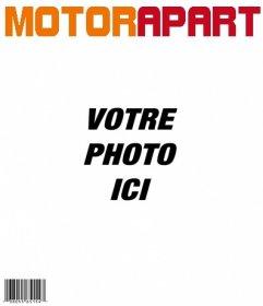 """Modèle de couverture du moteur Apart, personnalisable avec votre photo. Ajouter également, si vous voulez, un titre dans l""""image. Ensuite, vous pouvez télécharger ou envoyer le montage photo à un email"""