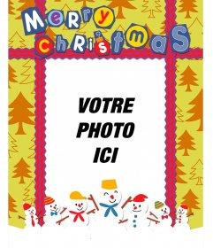 Carte postale colorée de Noël avec un fond de sapin pour mettre votre photo