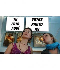 Photomontage de mettre deux photos dans un musée avec deux filles