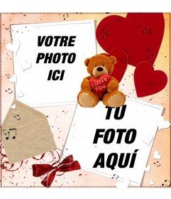 """Carte postale de le faire en ligne pour deux photos, avec une décoration d""""un ours en peluche, coeurs et de la lettre"""