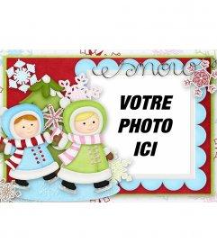 Illustré carte de Noël avec deux filles qui jouent pour décorer votre photo