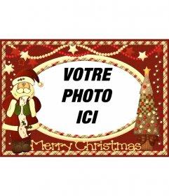 Carte vintage de Noël avec le Père Noël pour mettre votre photo