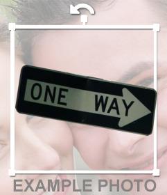 ONE WAY signe comme un autocollant à mettre sur vos photos