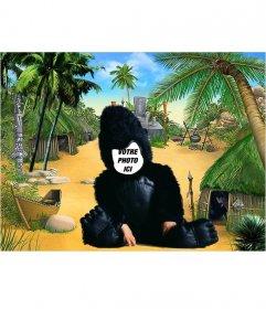 Drôle montage dun enfant vêtu du costume numérique de gorille à personnaliser avec une image et recadrer le visage pour entrer dans le costume de gorille et un fond de jungle. Un photomontage de lenfant à voir avec une image et gratuitement et ont une façon originale de voir votre fils et rire