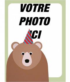Anniversaire cadre photo avec un ours