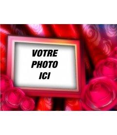 """Carte postale Saint-Valentin avec votre photo à l""""arrière-plan, le cadre des frontières avec des roses rouges"""